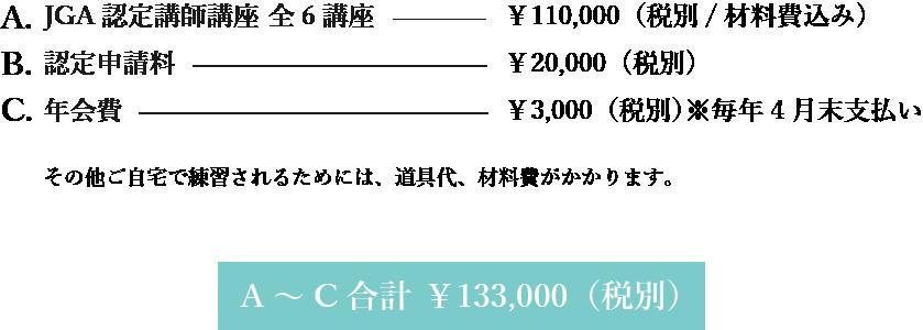 日本グルーデコ協会(JGA)認定講師講座 受講料